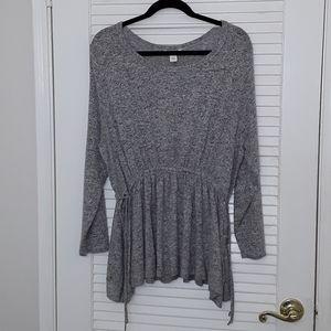 Caslon Knit Tie Sides Waist Heather Grey Sweater